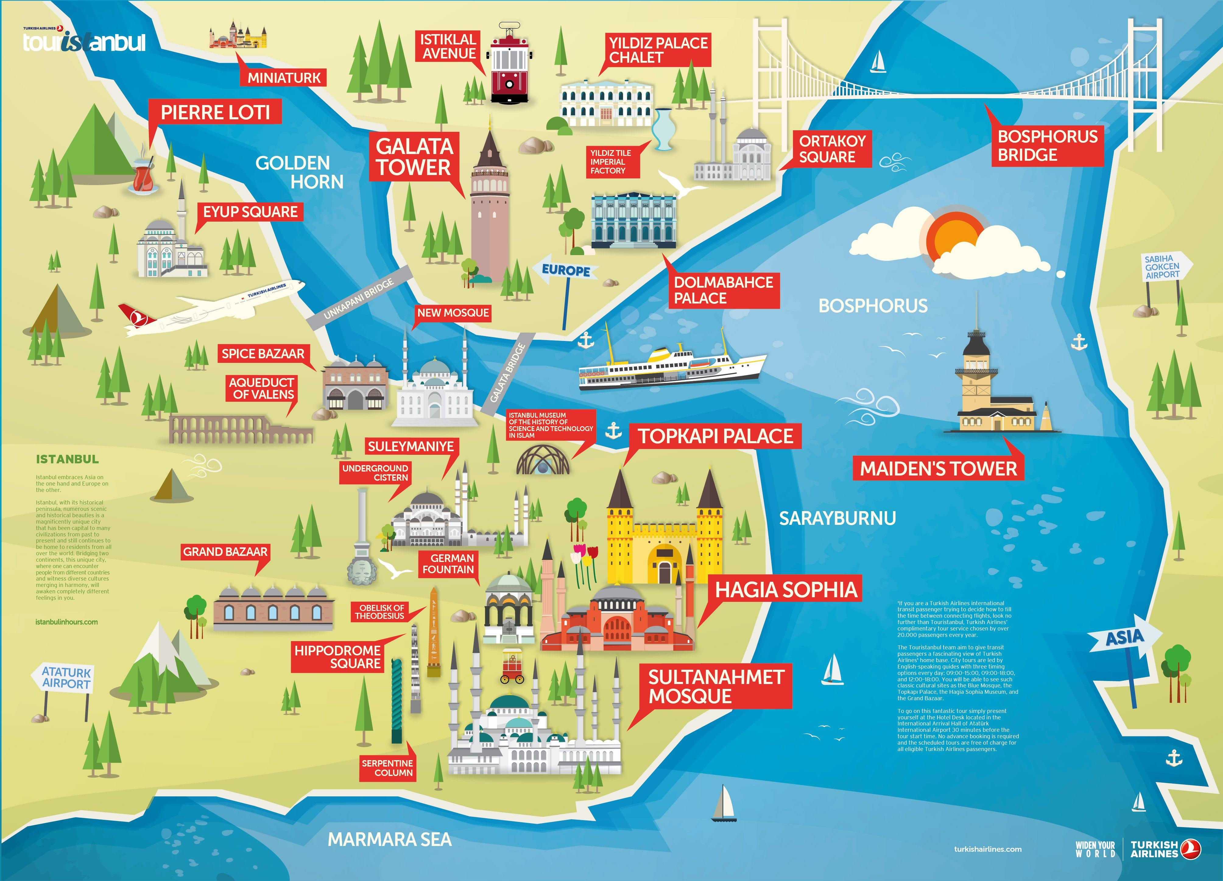 istanbul attractions map